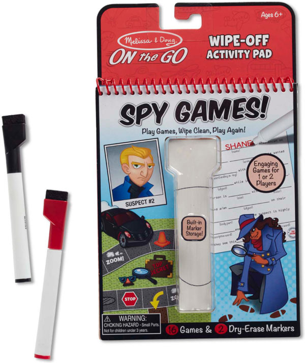 Spy Games Wipe-Off Activity Pad - On the Go Travel Activity