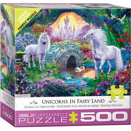 500 pc - Large Puzzle Pieces - Unicorns in Fairy Land by Jan Patrik