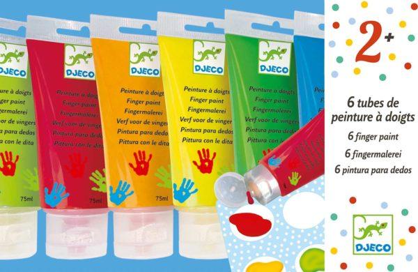 Art Supplies 6 Finger Paint Tubes - Classic