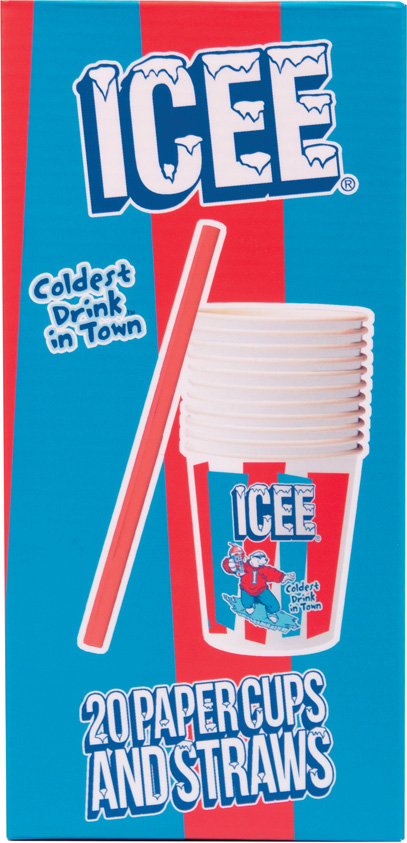 ICEE 20 Paper Cups and Straws