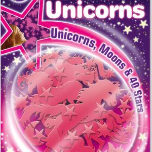Pink Glitter Unicorns; Unicorns, Moons & 40 Stars