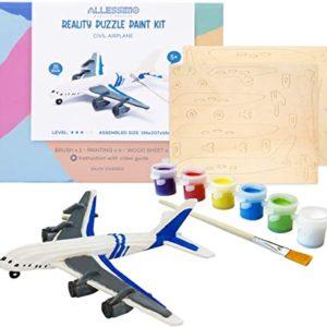 DIY 3D Wooden Puzzle with Paint Kit Civil Airplane