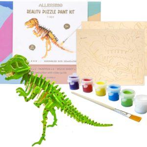 DIY 3D Wooden Puzzle with Paint Kit T-Rex